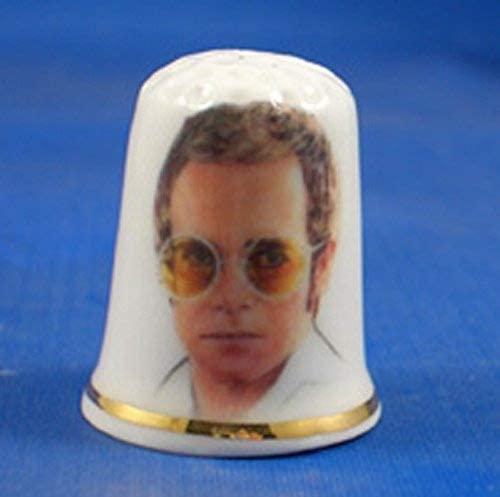 Porcelain China Collectable Thimble - Elton John with Free Gift Box