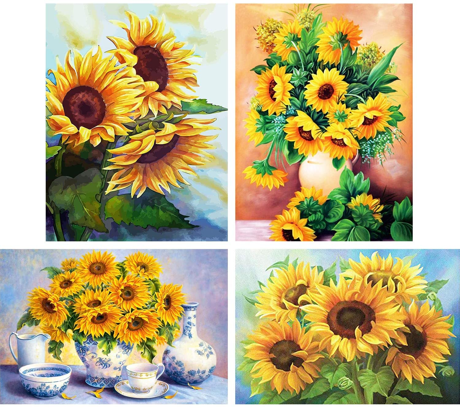 HaiMay 4 Pack DIY 5D Diamond Painting Kits for Adults Paint by Number Kits Full Drill Painting Diamond Pictures Arts Craft for Wall Decoration,Sunflower Style (10 x 14 inches)