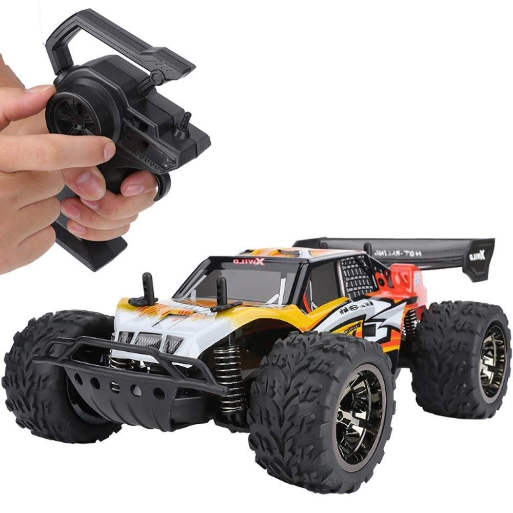 Ycco 1:18 All Terrain Fast Speed Remote Control Car, Off-Road 2.4 GHz, Anti-Collision PVC Hood with Rubber Tire Damper On The Front and Rear, Highland Stunts Climbing Car for Boys Easter Xmas Gifts