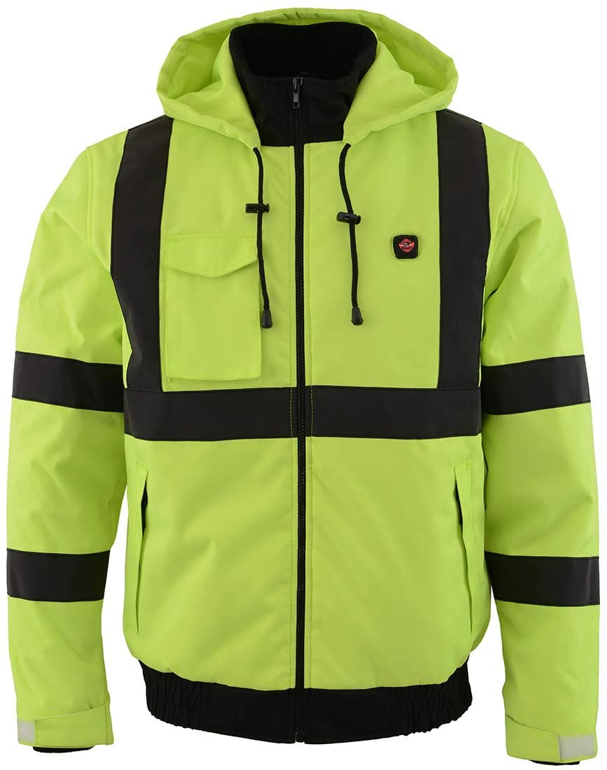 Milwaukee Leather MPM1773SET Men's High Viz Neon Green Textile Jacket with Heating Elements and Included Battery Pack - 2X-Large