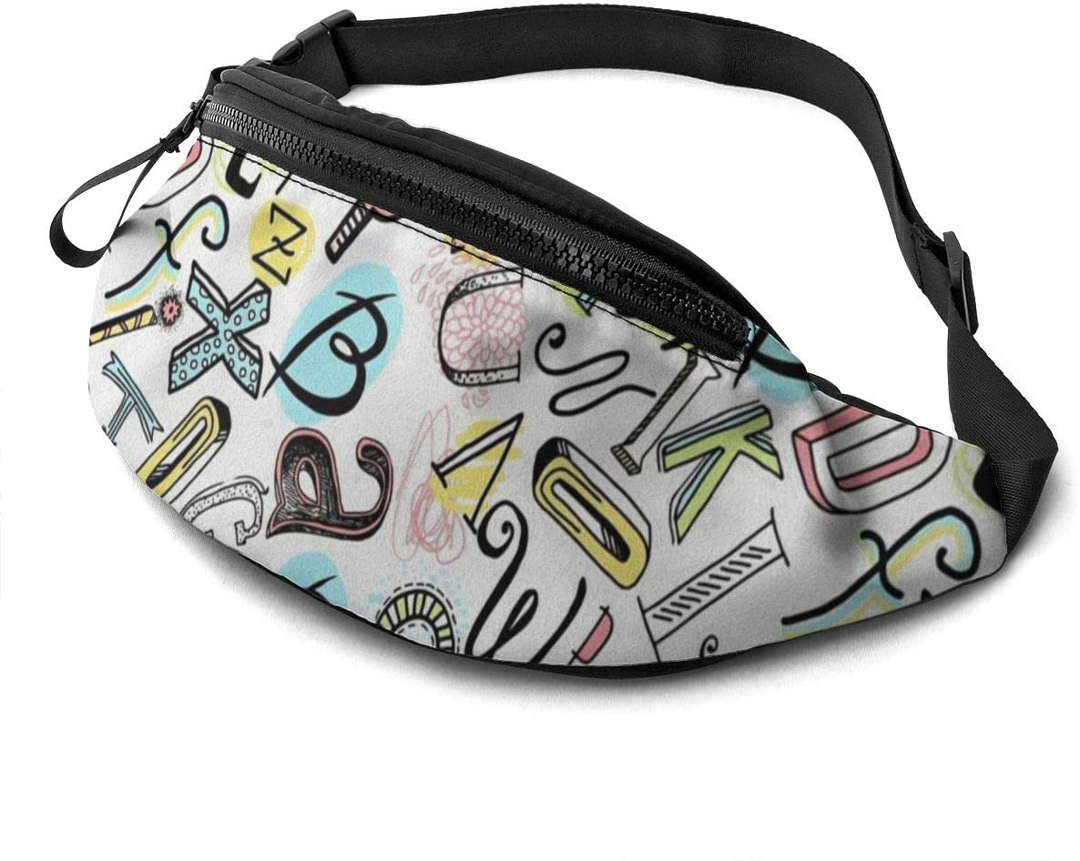 Hand-painted letters Fanny Pack for Men Women Waist Pack Bag with Headphone Jack and Zipper Pockets Adjustable Straps