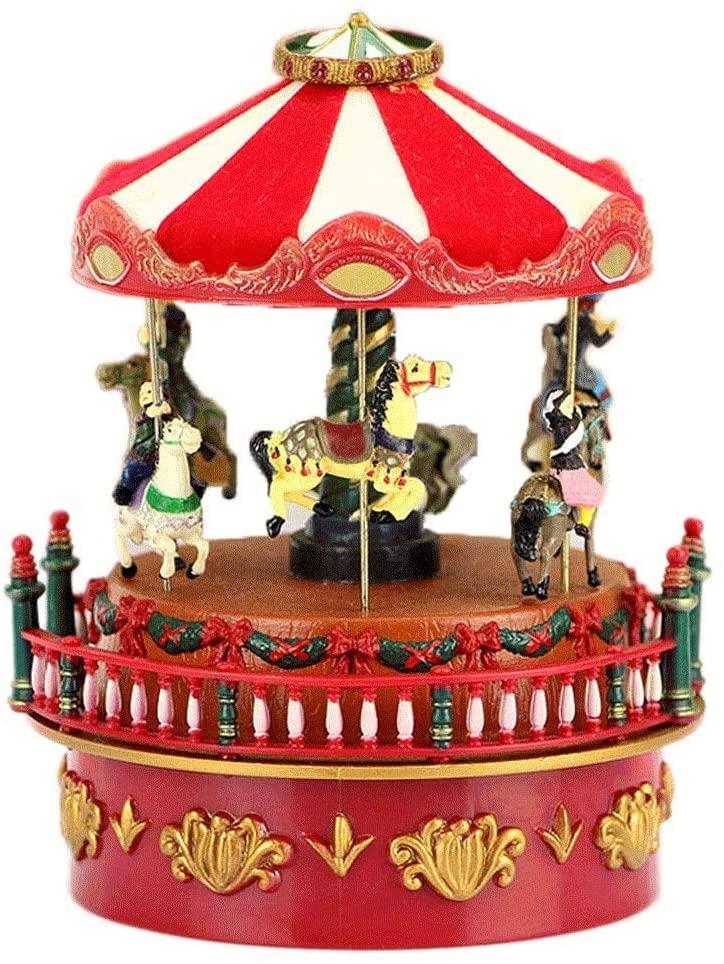 XLEVE Music Box-Musical Carousel Figurine Plays Tune Carousel Musical Boxes Figurines Red Carousel Music Box