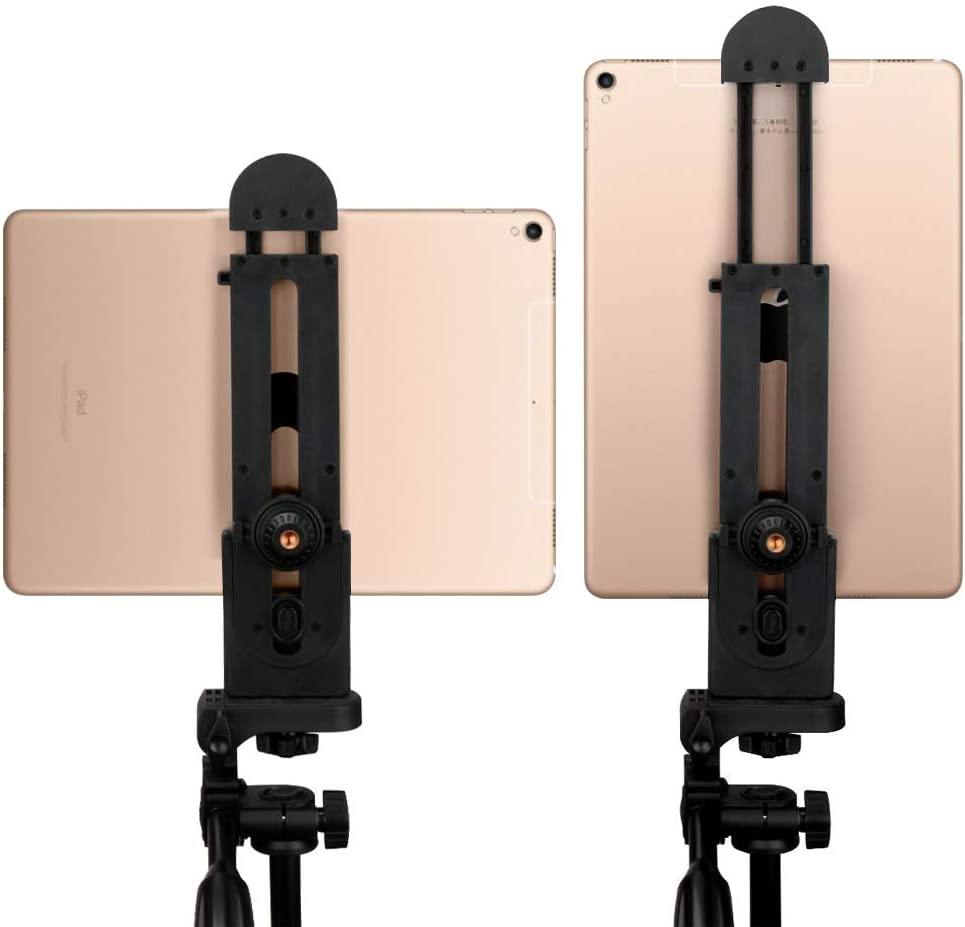 Tablet Tripod Mount Adjustable Clamp Tablet Holder Adapter Compatible with iPad Air Pro iPad Mini Microsoft Surface Nexus and Most Tablets(3inch-14inch Screen) for Tripod Monopod Selfie Stick