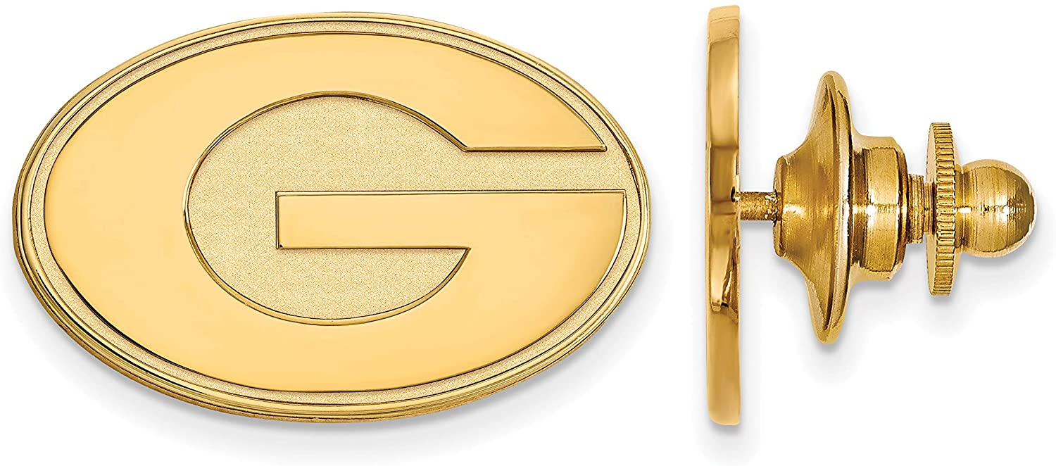 University of Georgia Bulldogs School Letter Lapel Pin in Gold Plated Sterling Silver 15x24mm