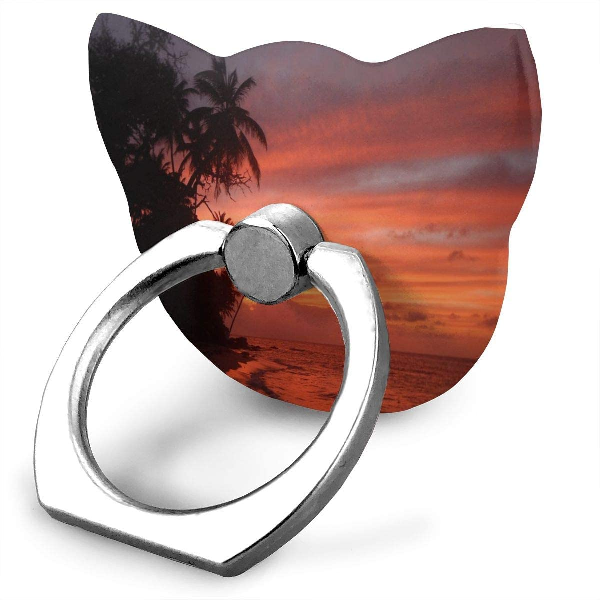 Cat Cell Phone Ring Holder, Ring Phone Holder Sunset On Island Cat Ring Holder for Cell Phone, Phone Grip Holder, Phone Ring Stand Finger Kickstand 360° Rotation Compatible with All Smartphones