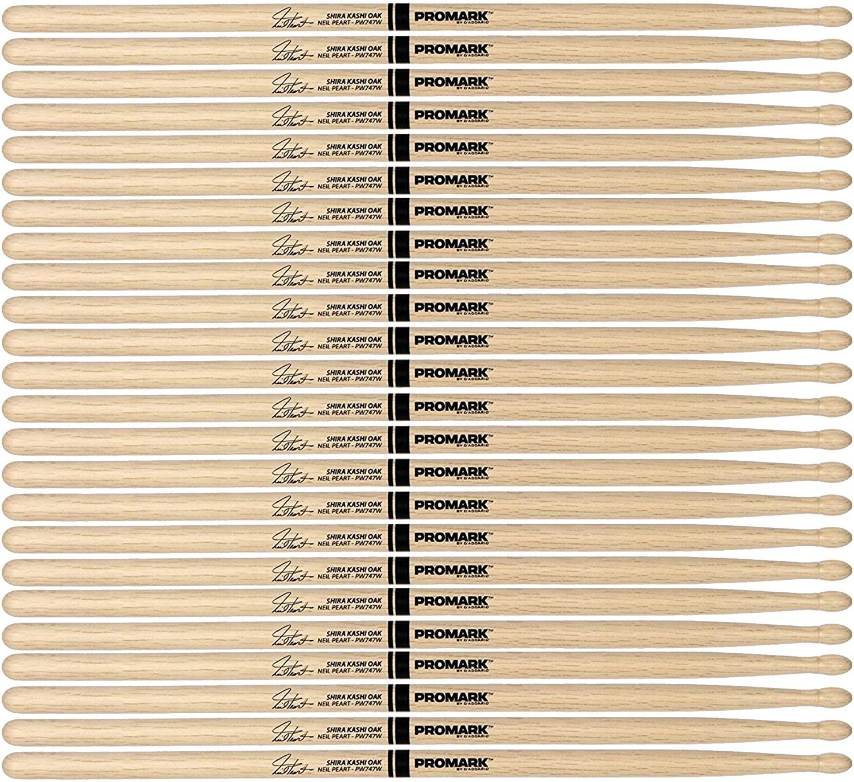 Promark Japanese White Oak 747 Neil Peart Wood Tip Drum Stick (12 Pair Bundle)