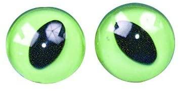 RAYHER HOBBY 8904600 Sew-On Plastic Cat Eyes 14 mm Diameter Pack of 4 Green/Black