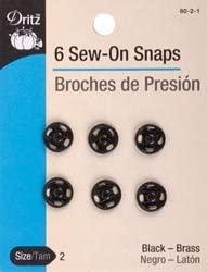 Dritz Black Sew On Snaps Size 2 8/Pkg 80 2 1 (3 Pack)