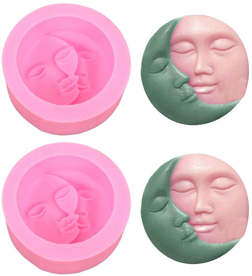 2 Pack Sun & Moon Soap Molds, Crescent Moon Face Silicone Soap Mold, DIY Homemade Lotion Bar Polymer Clay Chocolate Candy Molds for Cake Decorating Halloween Christmas Gift