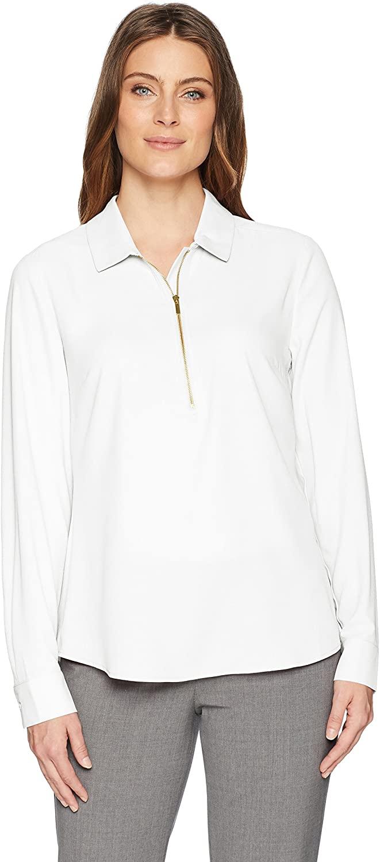 DHgate Brand - Lark & Ro Women's Modern Zip Popover Shirt