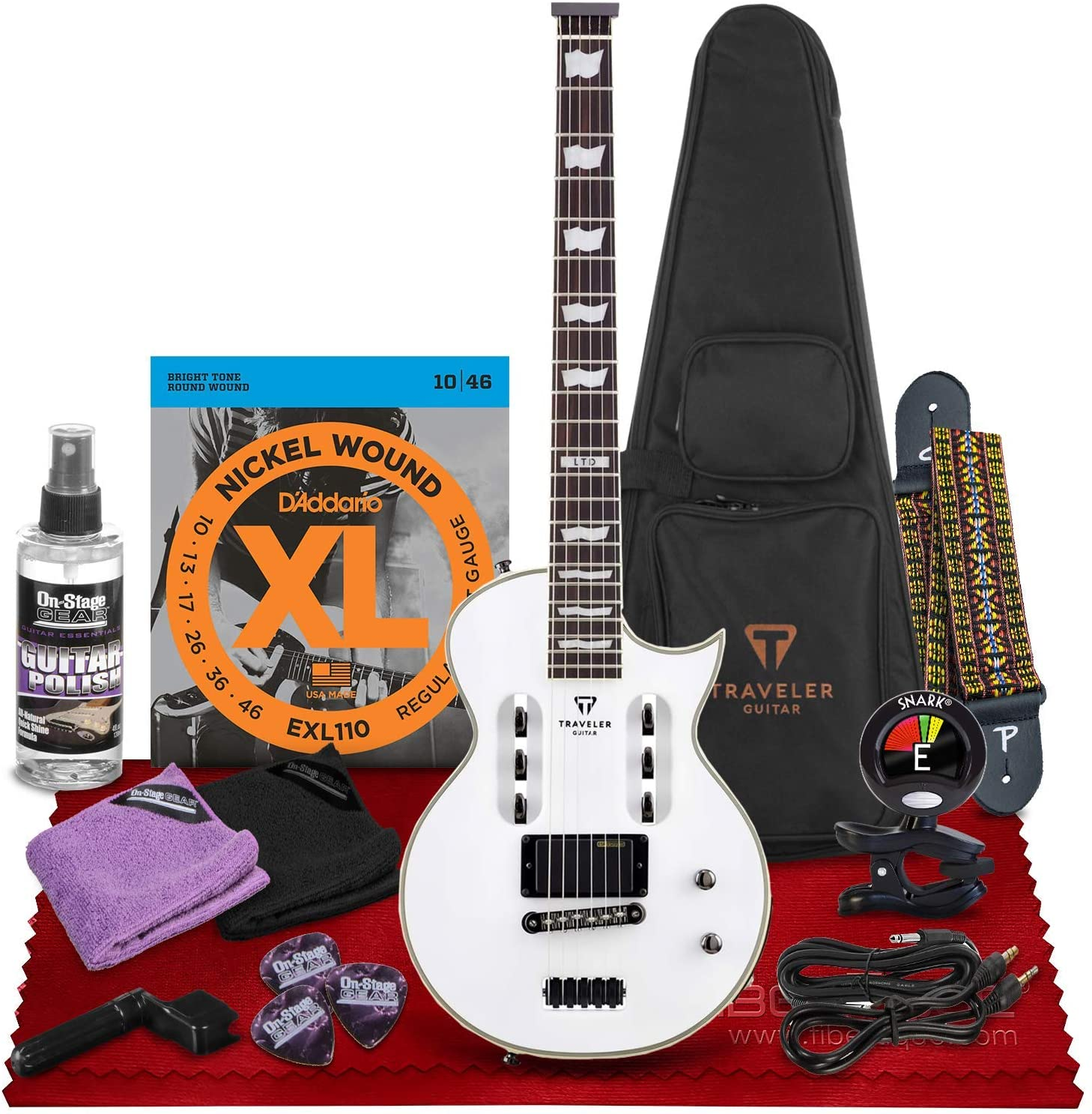 Traveler Guitar LTD EC-1 Electric Guitar (Snow White) (EC1 SWTG)+ Clip-On 360° Rotating Tuner, Guitar Strap, Strings, Universal Guitar Care Accessories, Cable Kit, and Fibertique Cleaning Cloth