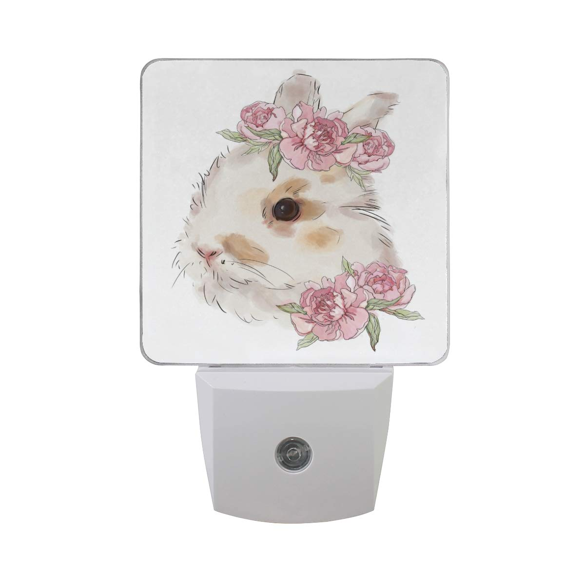 LED Night Light Rabbit with Pink Flowers Marvellous Auto Senor Dusk to Dawn Night Light Decorative Plug in for Kids Baby Girls Boys Adults Room Set of 2