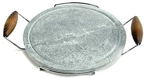 Bisetti Cooking Stone with Chromed Beechwood Handles Walnut Finishing, 11.81-Inch, Grey
