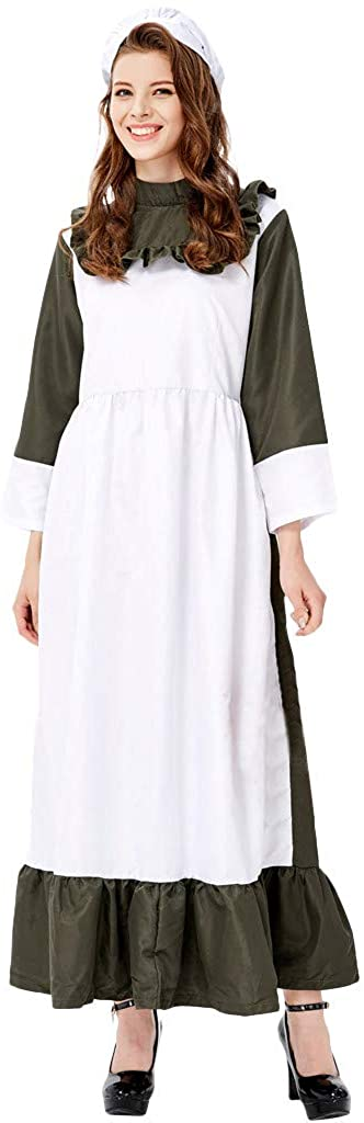 Ximandi Women's Long Skirt Maid's Dress Cosplay Halloween Festival Maid's Clothes