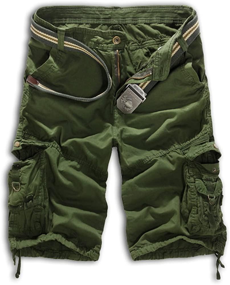Tonwhar Men's Summer 100% Cotton Cargo Shorts (36, Army Green)