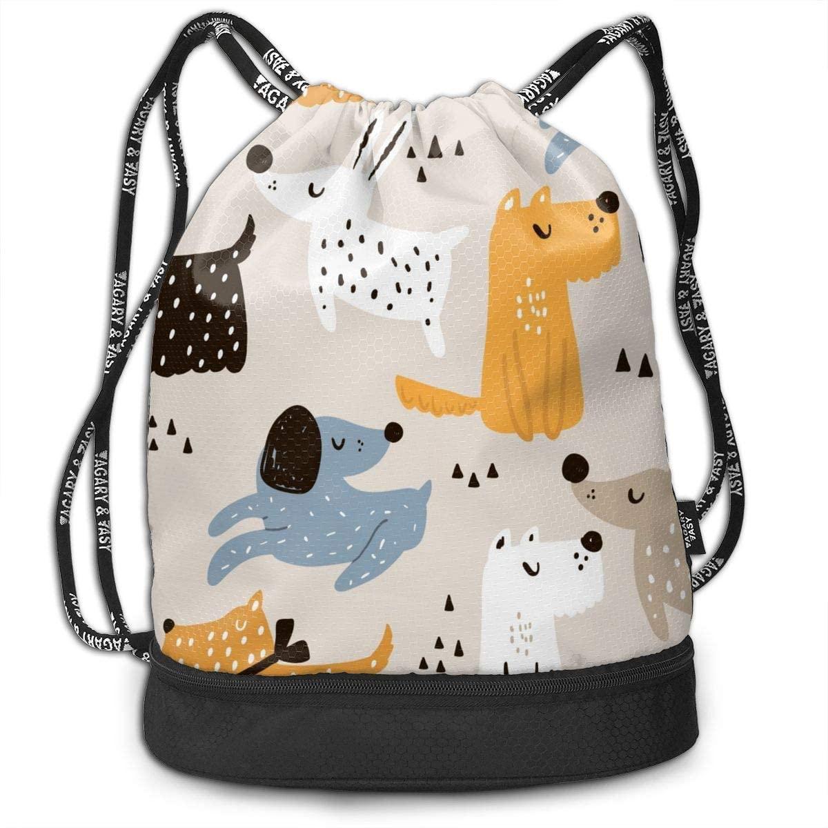Bundle Backpacks Hand Drawn Dogs Gym Sack Drawstring Bags Casual Daypack Yoga Bag School Training Pouch