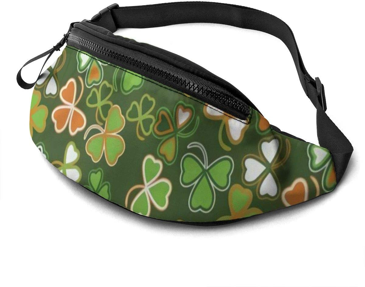 St Patrick's Day Lucky Shamrock Fanny Pack for Men Women Waist Pack Bag with Headphone Jack and Zipper Pockets Adjustable Straps