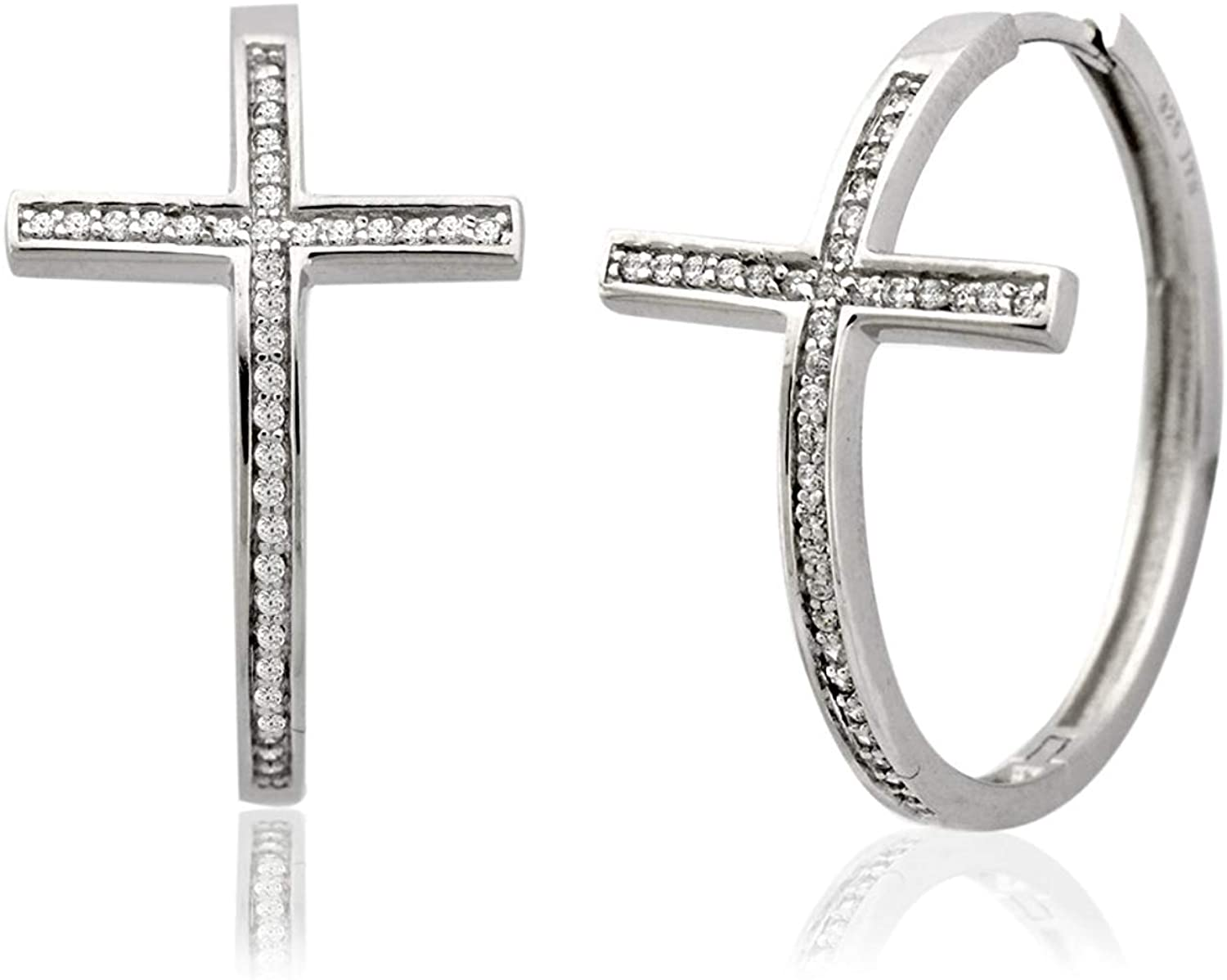925 Sterling Silver Cross Simulated Diamond CZ Endless Hoop Earrings