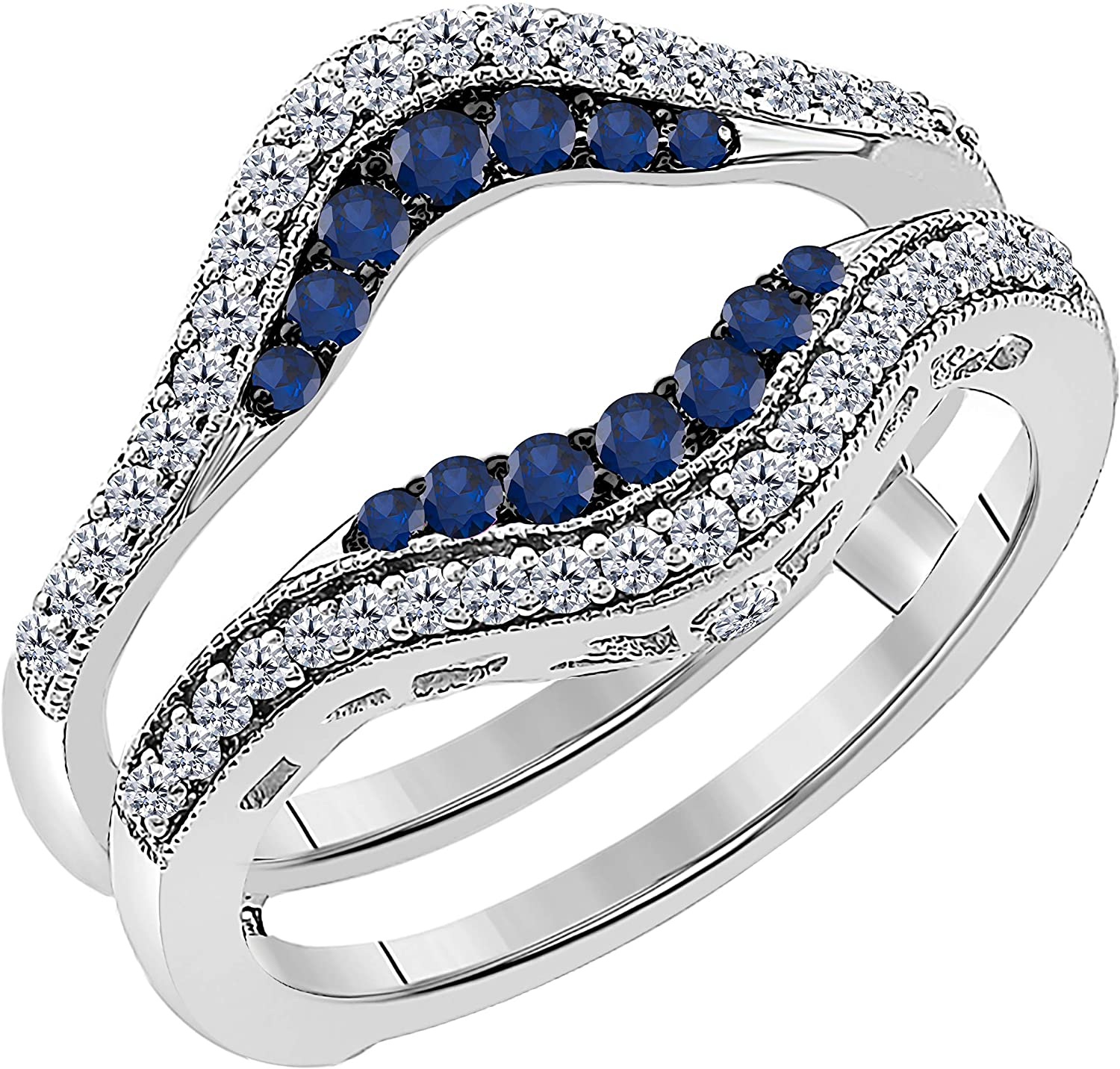 Women's 14k White Gold Plated in 925 Sterling Silver Double Row Pave Set 0.50 ctw CZ Blue Sapphire & Cubic Zirconia Round Wedding Band Solitaire Enhancer Guard Wrap Ring