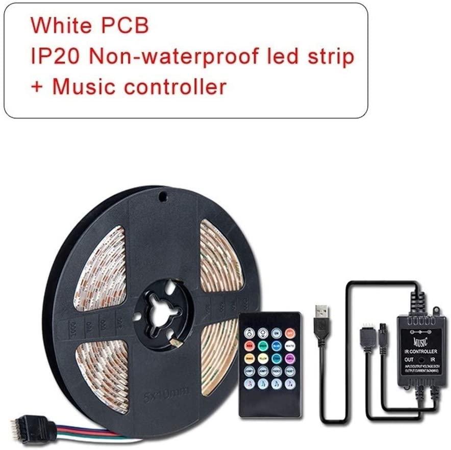 Premium Led Strip Lights, Led Strip Led Strip Lights For Bedroom Home Kitchen Bed And Bar Decoration IR Remote Music Controller LED Strip Professional & Upgraded ( Color : White PCB IP20 , Size : 3m )