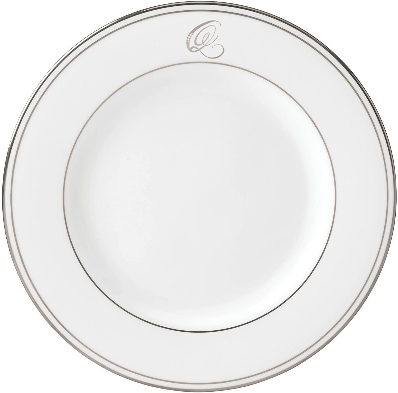 Lenox Federal Platinum Script Monogram Dinnerware Salad Plate, Q