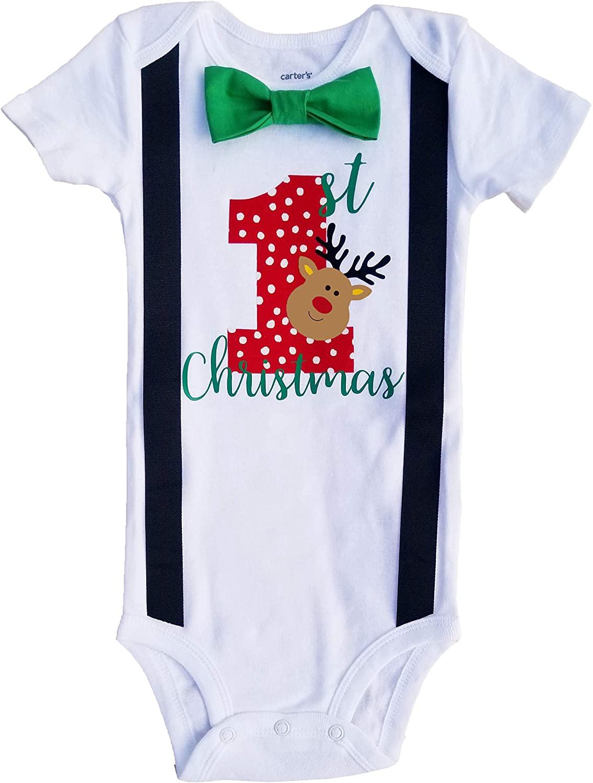 Perfect Pairz Baby Boys 1st Christmas Reindeer Bodysuit