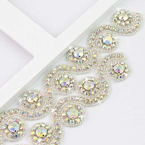 Crystal Rhinestone Trim Gleaming Ribbon Applique Bridal Beaded Applique ,1 Yard