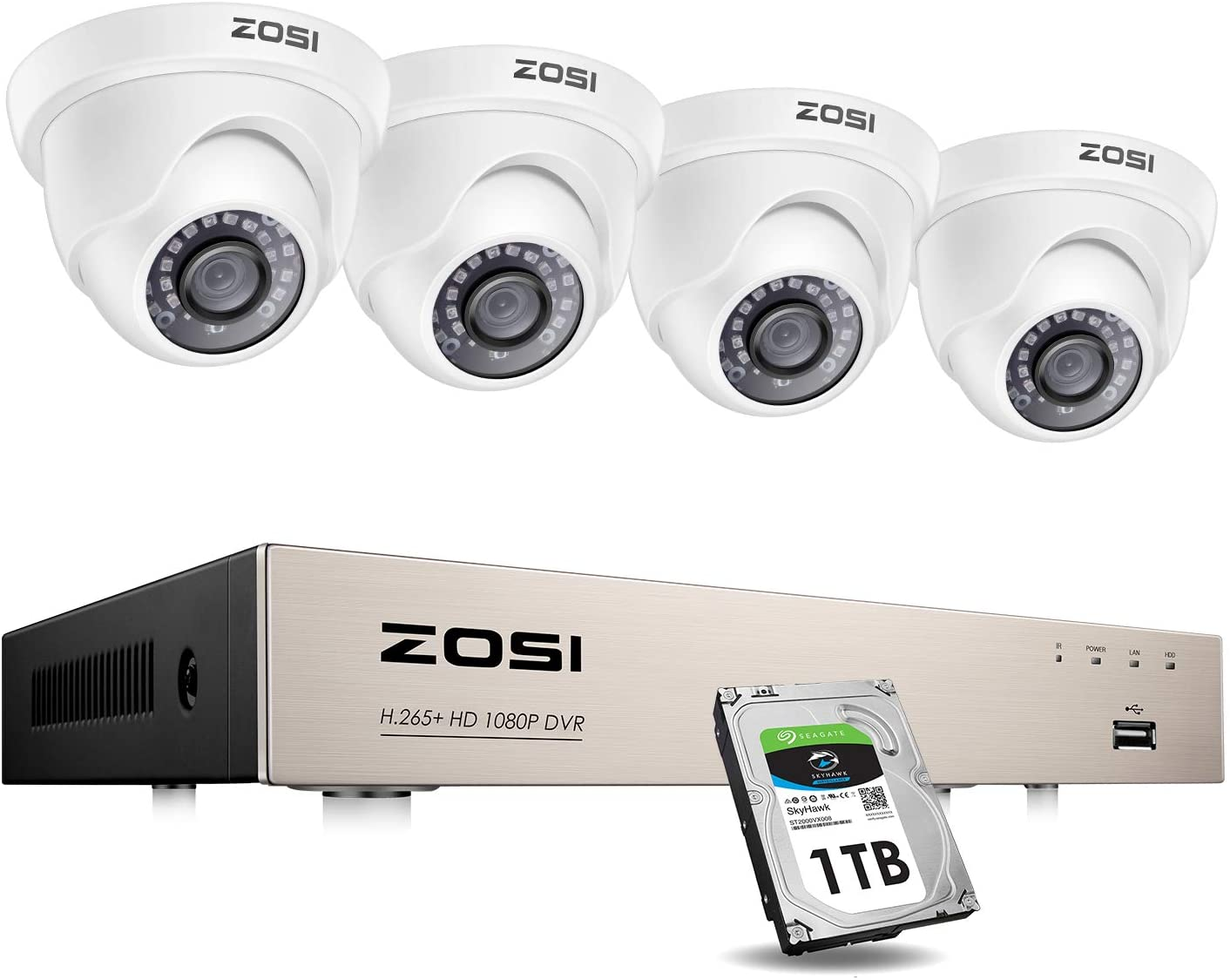 ZOSI Security Cameras System with 1TB Hard Drive,H.265+ 5MP Lite 8Channel HD-TVI DVR Recorder and 4pcs 1080P HD 1920TVL Indoor Outdoor Surveillance CCTV Dome Cameras with Night Vision,Remote Access