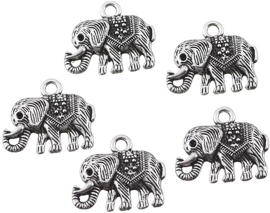 50pcs Antique Silver Plated Elephant Animal Charms Pendant DIY Bracelets Necklace Jewelry Making Craft Wholesale 21mmx20mm(A027)