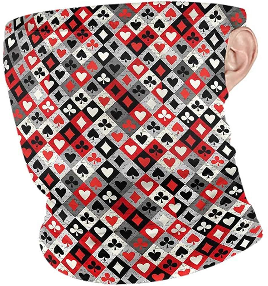 VIVIOTendance Headwear Casino,Checkered Pattern Symbols Motorcycle Face Bandana