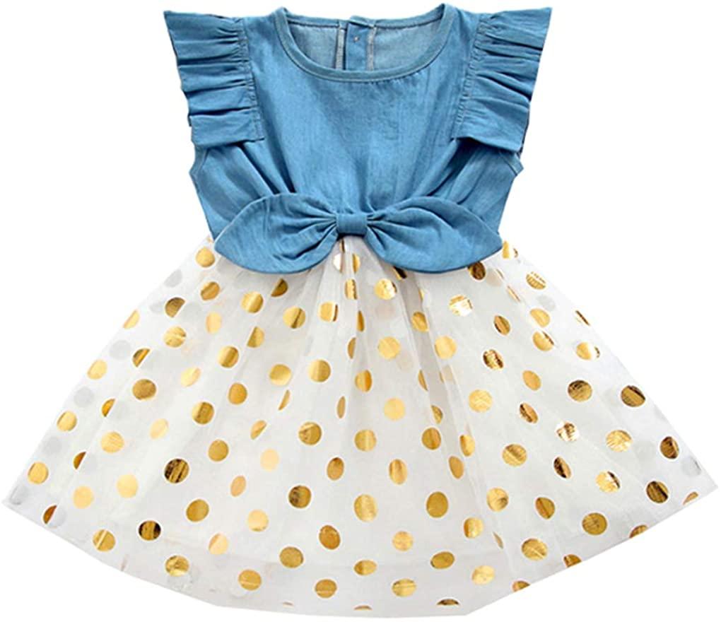 Shiny Toddler Baby/Little Girls Summer Beach Breathable Cotton Play-Wear/School Wear Denim Dress