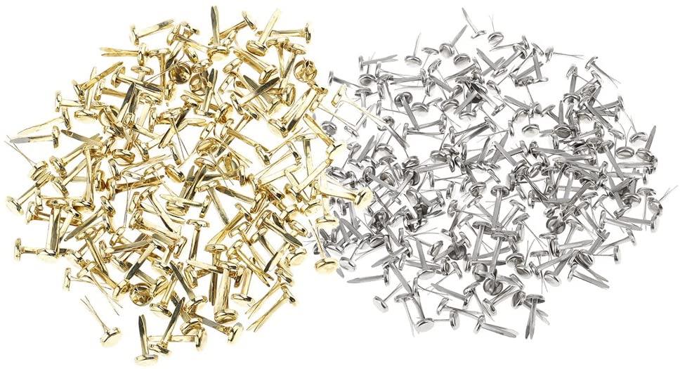 Floranea Mini Brads 50 Pcs Glod 50 Pcs Silver Round Metal Paper Fasteners for Art Craft Handmade Project Scrapbooking DIY Office School Supplies