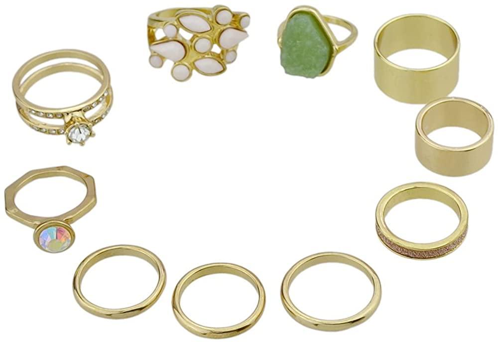 10 Pcs/Set Bohemian Gold Color Colorful Stone Rings Set For Women