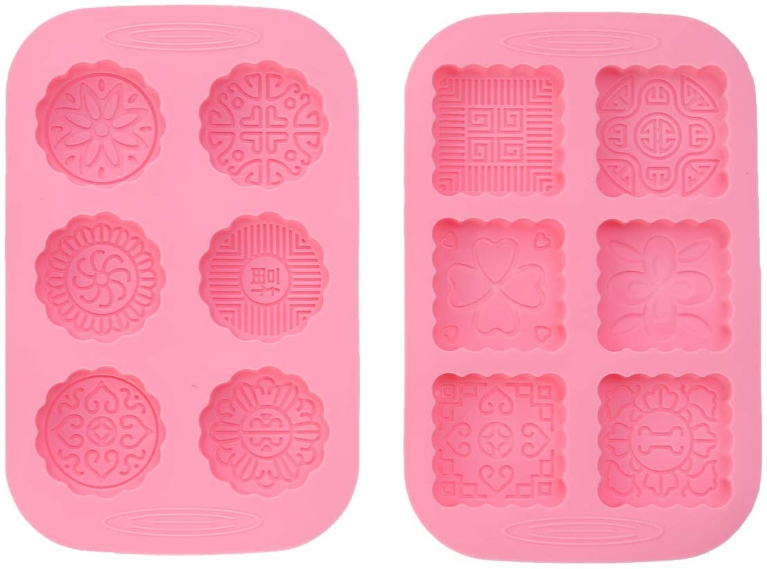 Artibetter 2pcs Silicone Soap Molds for Making Soaps - Mixed Patterns - Round Square 6-Cavity mooncake Mold Baking Molds for Making Soaps, Ice Cubes, Jelly