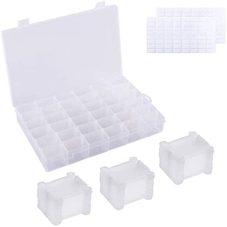 FOGAWA White Plastic Floss Organizer Box with 36 Adjustable Compartments Embroidery Thread Floss Bobbins and 128 Rectangle Sticker