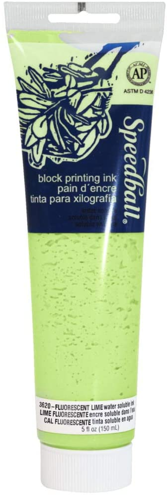 Speedball Water-Soluble Block Printing Ink, 2.5 oz Tube, Fluorescent Blue (003525)