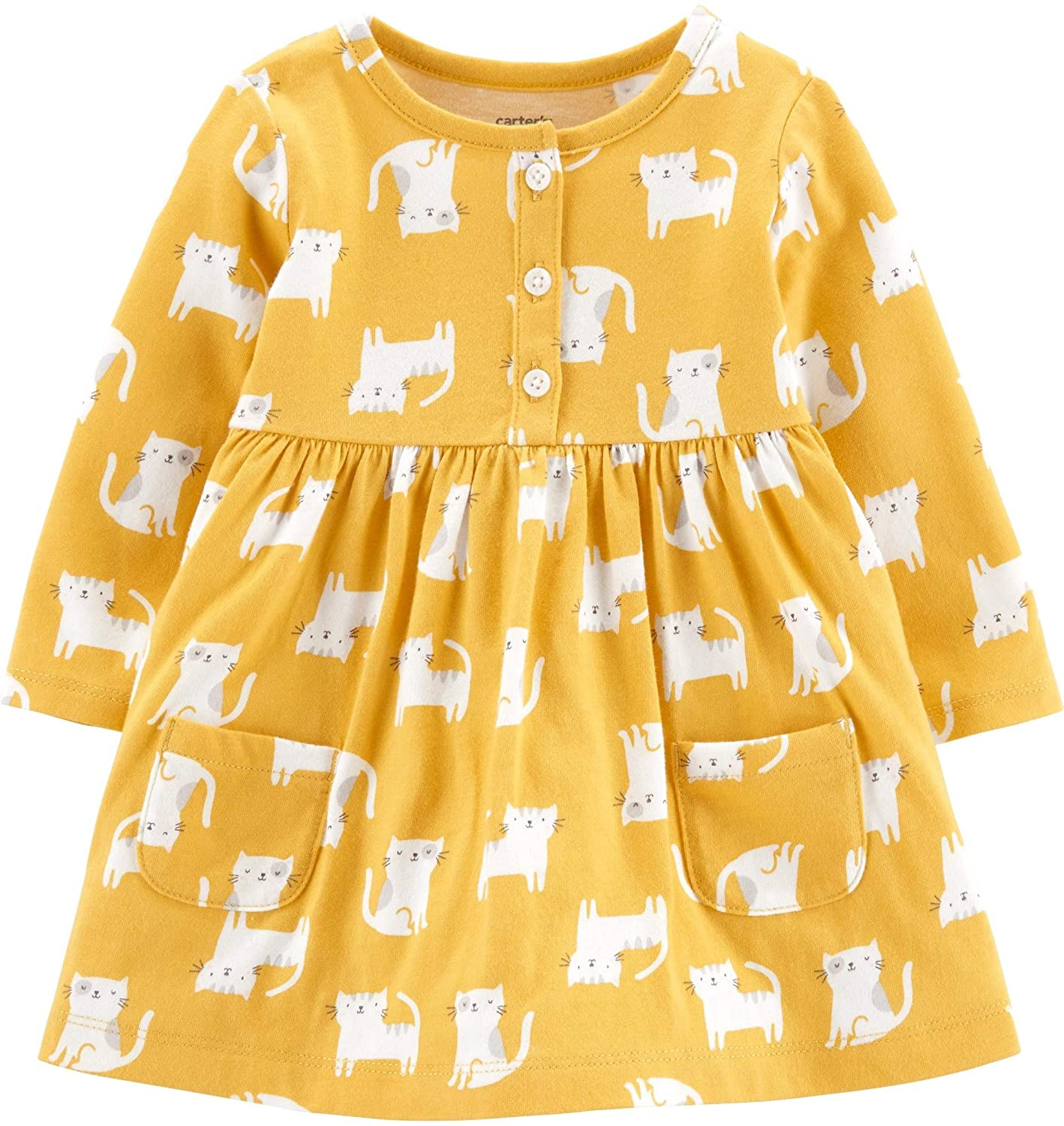 Carter's Baby Girls Gold Kitty Cat Cotton Knit Dress & Diaper Cover