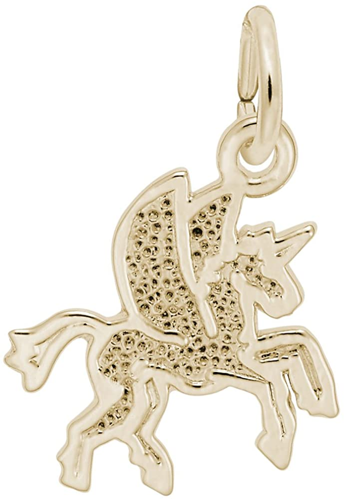 10k Yellow Gold Pegasus Charm, Charms for Bracelets and Necklaces