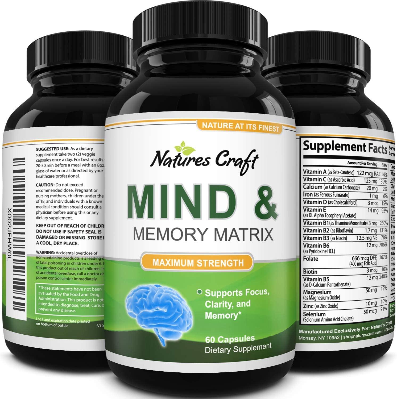 Amazing Nootropics Booster - Focus Brain Memory Support - Supplement for Adults, Women & Men - Cognitive Enhancement + Focus - Natures Craft