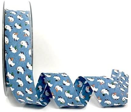 Spiral Safisa Blue Birds Print 100% Cotton 30mm Bias Tape on a 20m Roll