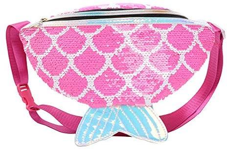 Newfancy Mermaid Tail Sport Waist Bag Women Sequins Money Hip Pouch Bum Bag Fish Durable Waist Pouch Belt Bag for Walking Running Hiking Shopping