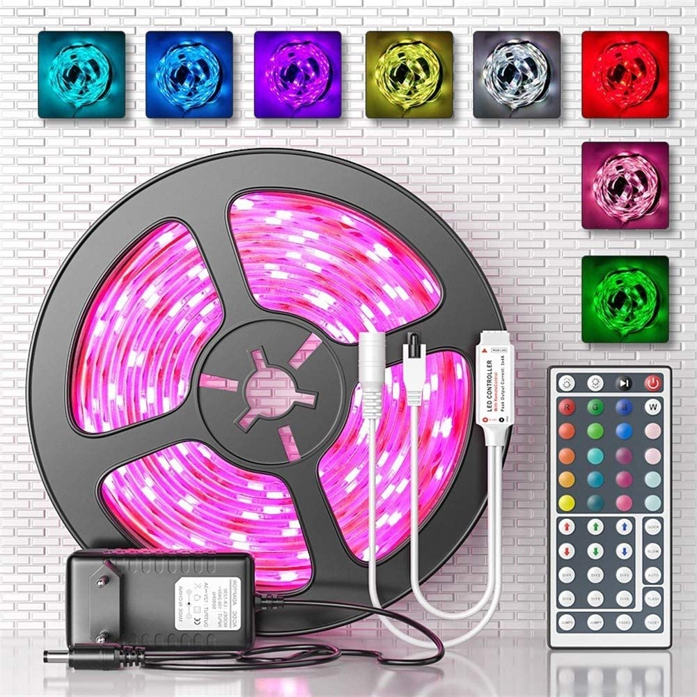 JELO Premium Led Strip Lights, Led Strip Lights with Remote RGB 5M 10M 15M Tape Lights for Bedroom Professional & Upgraded (Color : 10M Full Set, Size : WP No Battery)