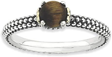 Sterling Silver & 14k Stackable Expressions Tiger's Eye Antiqued Ring