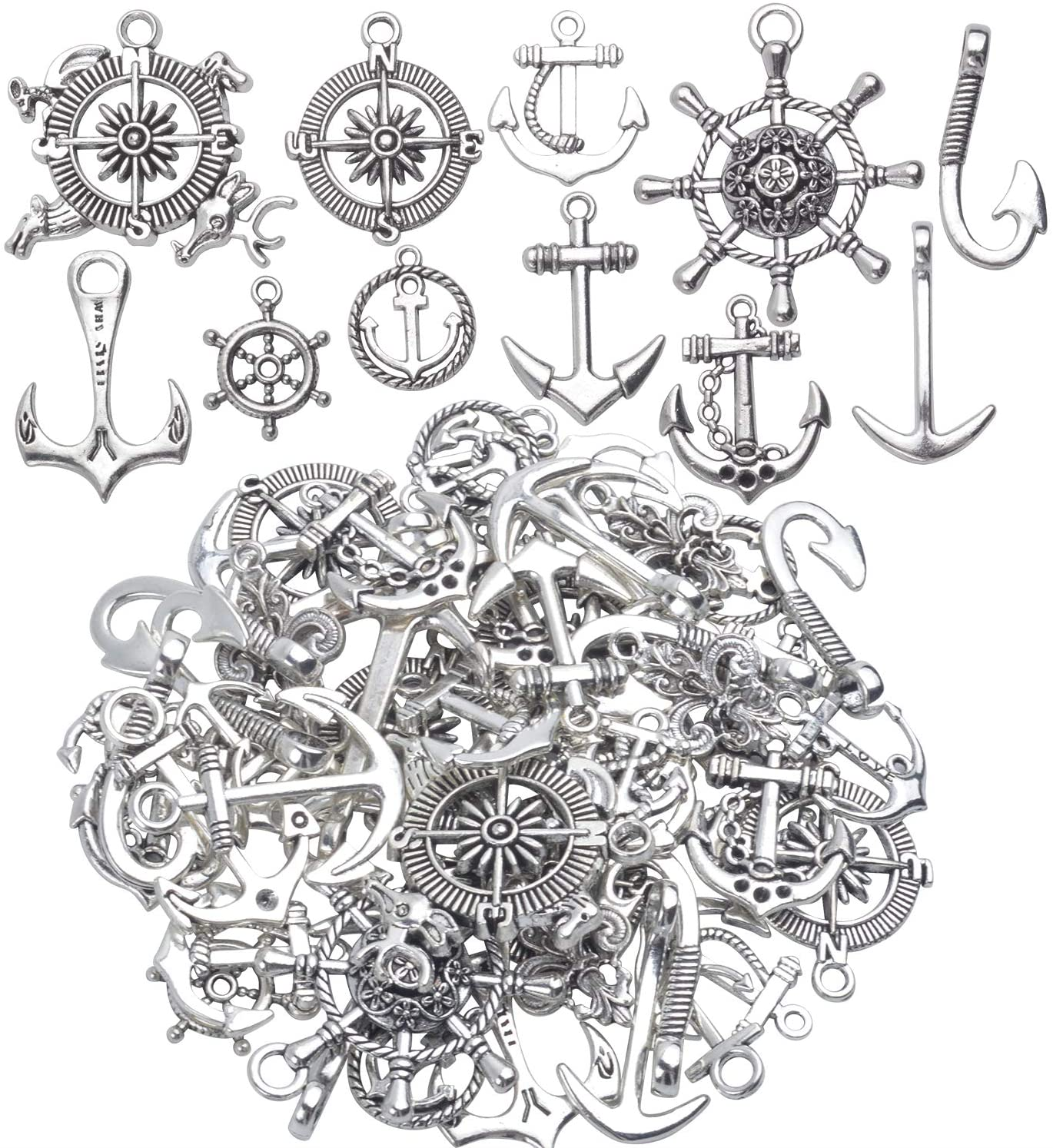 Nautical Charms Collection,100g (About 50pcs) Metal Alloy Nautical Anchor Charms Rudder Helm Ship Wheel Pendants Beads Charms Jewelry Making Accessories for DIY Necklace Bracelet - Silver