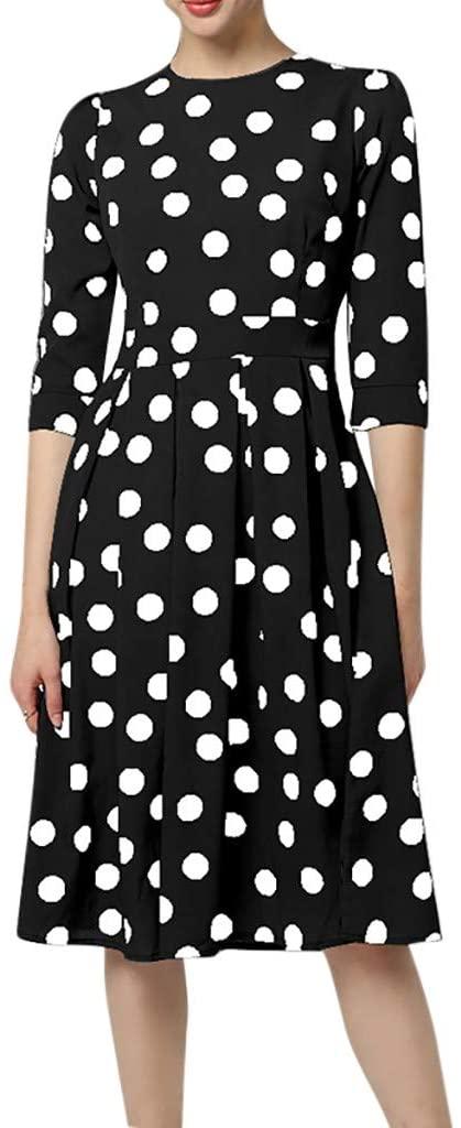 Fashion Women O-Neck Three Quarter Polka Dot Print Casual Holiday Party Leisure Dress