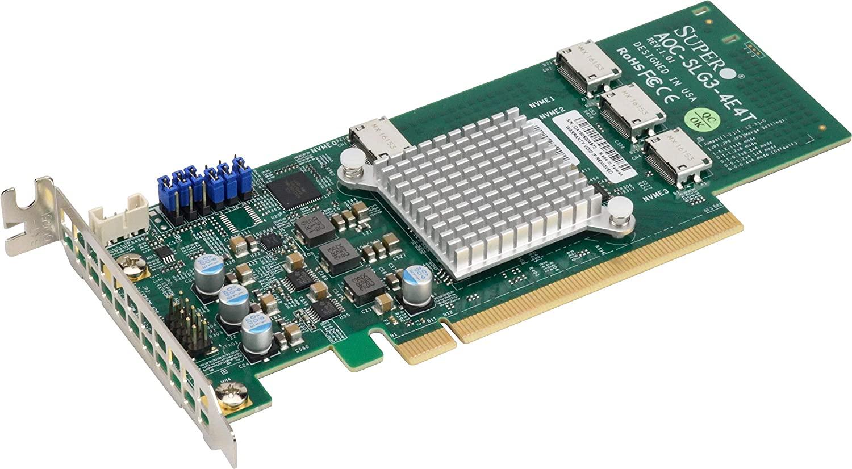 Supermicro AOC-SLG3-4E4T 12.8GB/s Quad-Port Gen-3 Internal NVMe Host Bus Adapter
