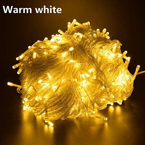 BMWY Fairy Lights, Led String Lights 100m 10m 5m Led Fairy Lights, Lighting Tree Garlands Tree Christmas Lights for Christmas (Cor de Emissão : Warm White, Potência : 10M 100LED US 110V)