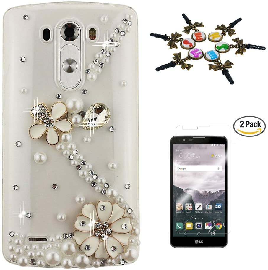 STENES LG Stylo 3 Case - 3D Handmade Luxurious Crystal Sparkle Diamond Rhinestone Hybrid Cover for LG Stylo 3/Stylo 3 Plus/LG LS777 with Screen Protector & Retro Anti Dust Plug - S Link Flowers/White
