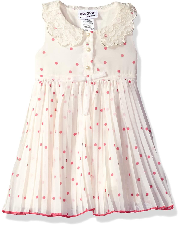 Blueberi Boulevard Baby Girls' Dot Floral PLTD Peterpan Collar Sundress