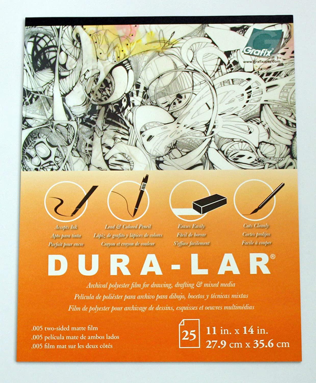 Grafix Matte 0.005 Dura-Lar Film, 14-Inch by 17-Inch, 25 Sheets